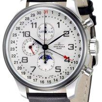 Zeno-Watch Basel Acero Automático Blanco Arábigos 47mm nuevo OS Retro