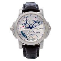Ulysse Nardin Sonata gebraucht 42mm Silber Chronograph Datum Wecker GMT/Zweite Zeitzone Krokodilleder