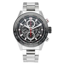 TAG Heuer Carrera Calibre HEUER 01 pre-owned 46mm Black Chronograph Date Steel