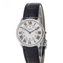 Cartier Platinum Manual winding Silver Roman numerals 34mm pre-owned Ronde Solo de Cartier