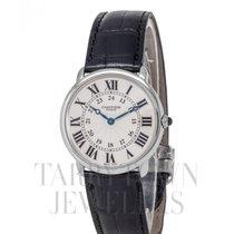 Cartier Platin Handaufzug Silber Römisch 34mm gebraucht Ronde Solo de Cartier