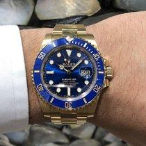 Rolex Gelbgold Automatik Blau 40mm neu Submariner Date