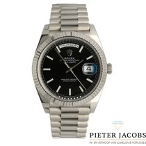 Rolex Day-Date 40 White gold 40mm Black Roman numerals