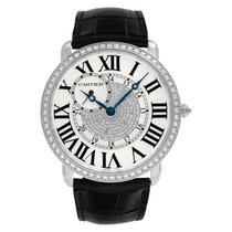 Cartier White gold Manual winding Silver 42mm pre-owned Ronde Louis Cartier