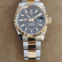 Rolex Sky-Dweller Gold/Stahl 42mm Schwarz Keine Ziffern