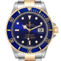 Rolex Submariner Date Aur/Otel 40mm Albastru