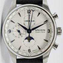 Union Glashütte Belisar Chronograph pre-owned 44mm White Moon phase Chronograph Date Weekday Month Leather