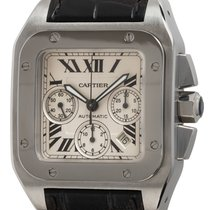 Cartier Steel Automatic Silver Roman numerals 41mm pre-owned Santos 100