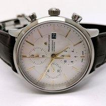 Maurice Lacroix Les Classiques Chronographe gebraucht 41mm Silber Chronograph Datum Leder