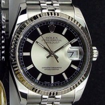 Rolex Silver Black 36mm pre-owned Datejust