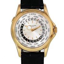 Patek Philippe World Time usados 39.5mm Plata GMT Piel