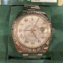 Rolex Sky-Dweller occasion 42mm Blanc Date GMT Or blanc