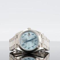 Rolex Day-Date 40 Platin 40mm Blau Römisch