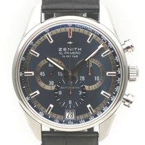Zenith El Primero 36'000 VpH pre-owned 42mm Blue Chronograph Date Crocodile skin