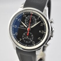 IWC Portuguese Yacht Club Chronograph tweedehands 45.4mm Zwart Chronograaf Datum Rubber