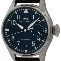 IWC Big Pilot occasion 46mm Noir Date Cuir de crocodile