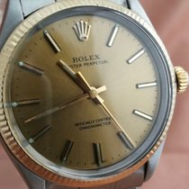 Rolex Oyster Perpetual 34 Or/Acier 34mm Champagne Sans chiffres