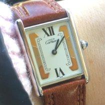 Cartier Tank Vermeil подержанные Золотой Кожа