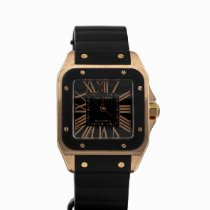 Cartier Santos 100 pre-owned 38mm Black Rubber