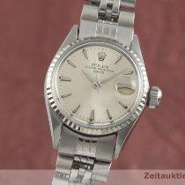 Rolex Oyster Perpetual Lady Date Złoto/Stal 25mm Srebrny