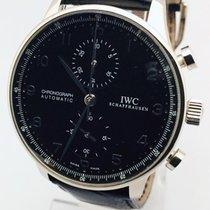 IWC Portuguese Chronograph подержанные 41mm Чёрный Хронограф Кожа аллигатора