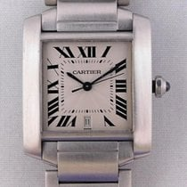 Cartier Tank Française pre-owned 28mm Silver Date Silver