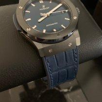 Hublot Classic Fusion Blue pre-owned 45mm Blue Date Crocodile skin