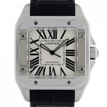 Cartier Santos 100 Stål 38mm Vit