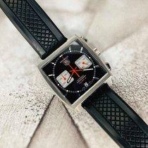 TAG Heuer Monaco Calibre 12 occasion 39mm Noir Chronographe Date Caoutchouc