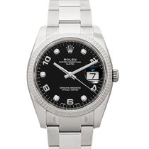 Rolex White gold Automatic Black 34mm new Oyster Perpetual Date