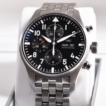 IWC Pilot Chronograph Steel 43mm Black Arabic numerals India, Roma