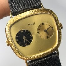 Piaget Piaget 18k Solid Gold Dual Time Zone Vintage Watch W/ Hirsch pre-owned