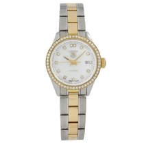 TAG Heuer Carrera Lady pre-owned 27mm Mother of pearl Date Gold/Steel