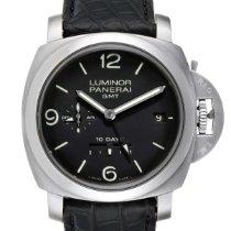 沛納海 Luminor 1950 10 Days GMT 鋼 44mm 黑色 阿拉伯數字