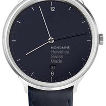 Mondaine Helvetica Steel 38mm Blue United States of America, New York, Monsey