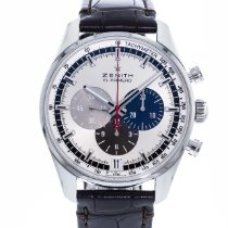 Zenith El Primero 36'000 VpH pre-owned 42mm Silver Chronograph Date Leather