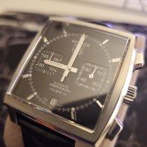 TAG Heuer Monaco Calibre 12 pre-owned Black Chronograph Date Crocodile skin