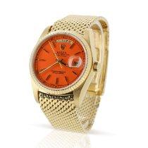 Rolex Day-Date 36 Geelgoud 36mm Oranje Geen cijfers