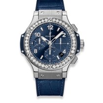 Hublot Big Bang 41 mm occasion 41mm Bleu Chronographe Date Cuir de crocodile