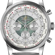 Breitling Transocean Chronograph Unitime Acero 46mm Blanco