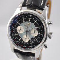 Breitling Transocean Chronograph Unitime pre-owned 46mm Black Chronograph Date GMT Leather