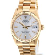 Rolex Oyster Perpetual Lady Date tweedehands 31mm Wit Datum Geelgoud