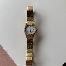 Cartier Gelbgold Automatik Silber 24mm gebraucht Santos (submodel)