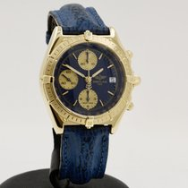 Breitling Chronomat gebraucht 38mm Blau Chronograph Datum Leder