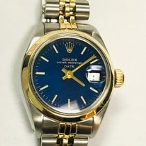 Rolex Oyster Perpetual Lady Date Gold/Steel 26mm Blue No numerals