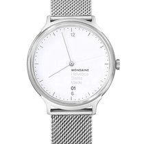 Mondaine Helvetica Steel 38mm White No numerals