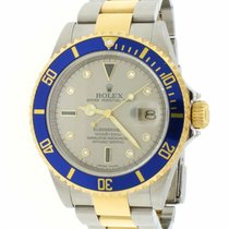 Rolex Submariner Date pre-owned 40mm Silver Date Gold/Steel