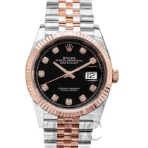 Rolex Or rose Remontage automatique Noir 36mm nouveau Lady-Datejust