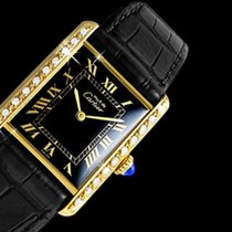 Cartier Tank Vermeil pre-owned 23.5mm Black Leather