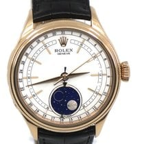 Rolex Cellini Moonphase pre-owned 39mm White Moon phase Leather